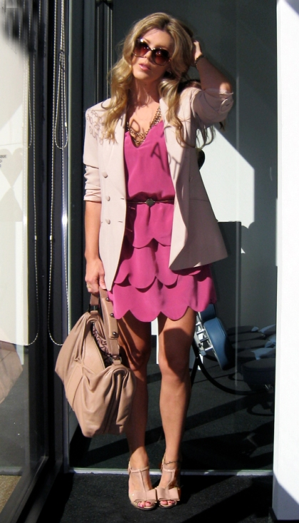 Maegan in cute fuschia dress and the nude Jessica Simpson Halli sandal