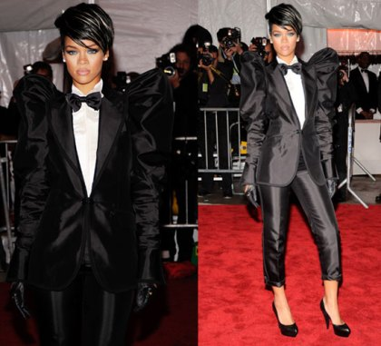 Rihanna in fly tux on red carpet