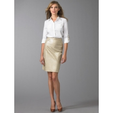 Elie Tahari Gold Leather Pencil Skirt