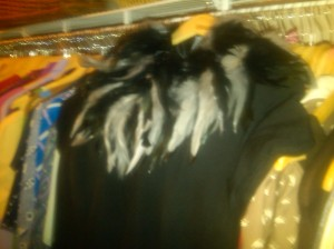 Feather shawl on my fave LBD