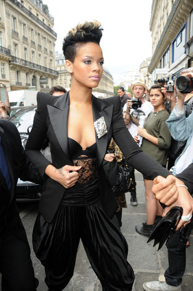 Rihanna at Balmain show